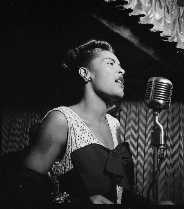 Fig. 5- Billie Holiday delivering a performance of StrangeFruit at Greenwich Village.